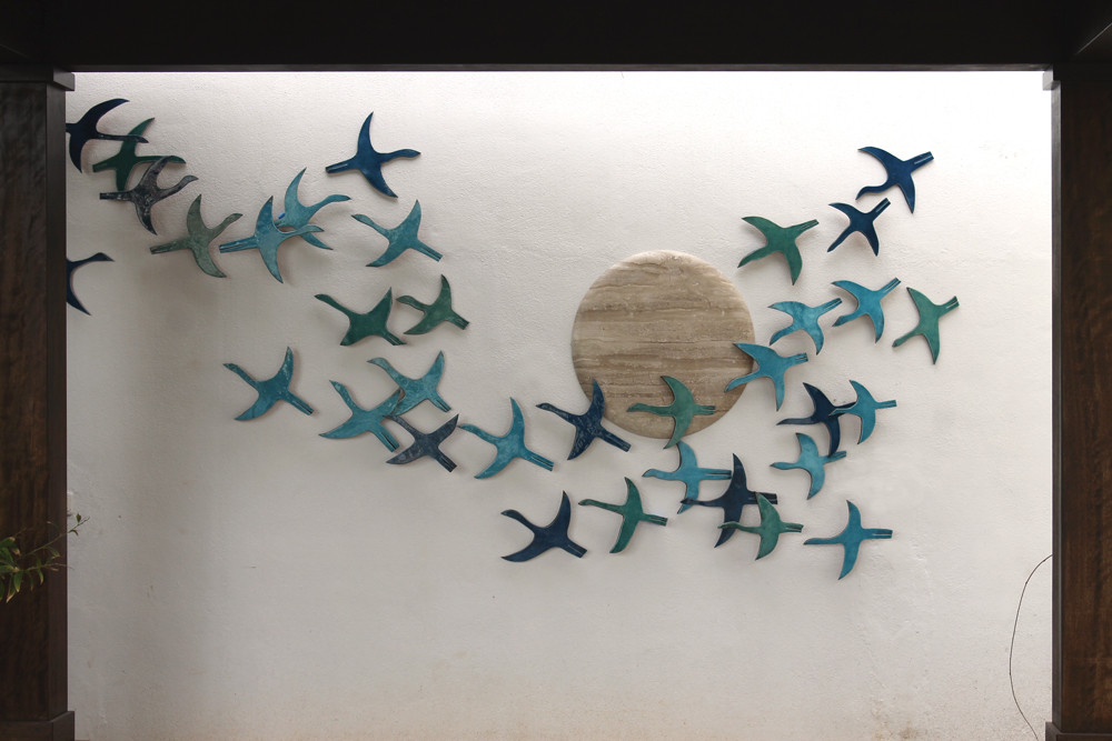 Ceramic wall art birds abstract turquoise SET10