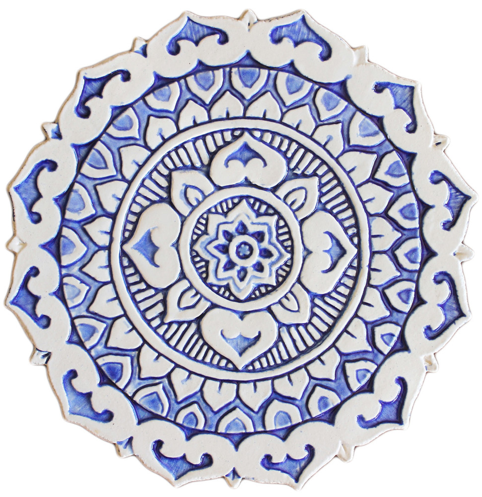 Mandalita ceramic wall art deco/R - blue  [28cm]