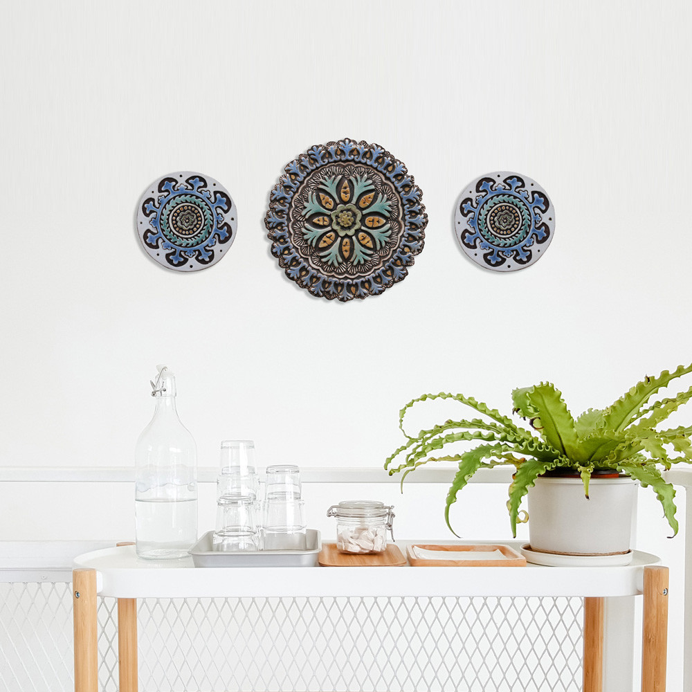 Ceramic wall art SET3 Turquoise circles Suzani #4