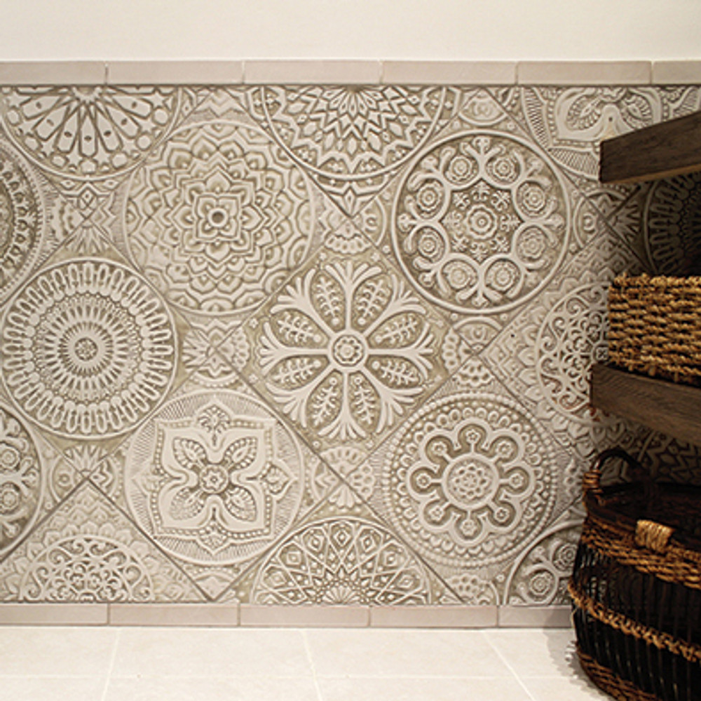 Handmade tile for kitchens, bathrooms and outdoor wall art. Decorative tile handmade in Spain. Relief tile glazed in beige and white.