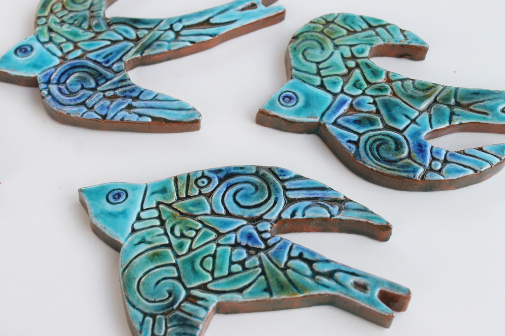 Ceramic Wall Art Birds Swallows Turquoise SET5