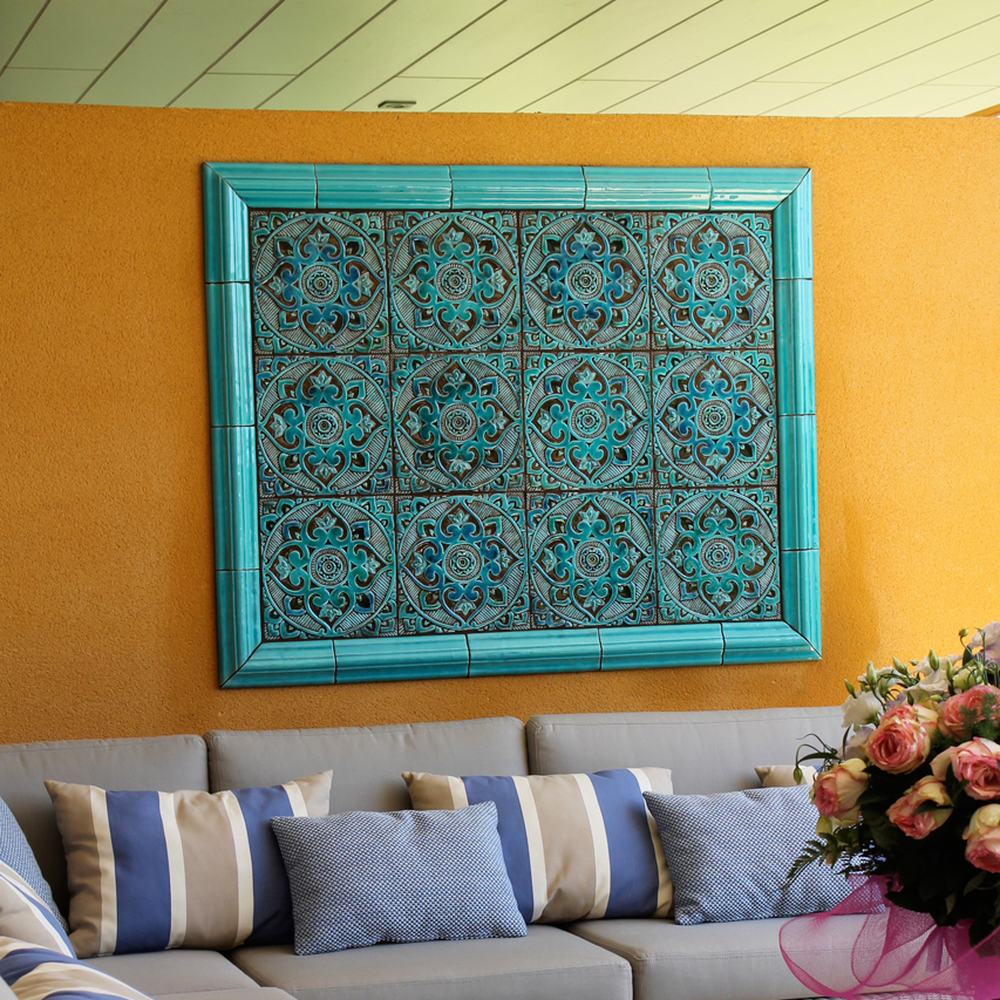 Turquoise handmade tile with decorative relief. Large decorative tile with Mandala design. Outdoor wall art.
