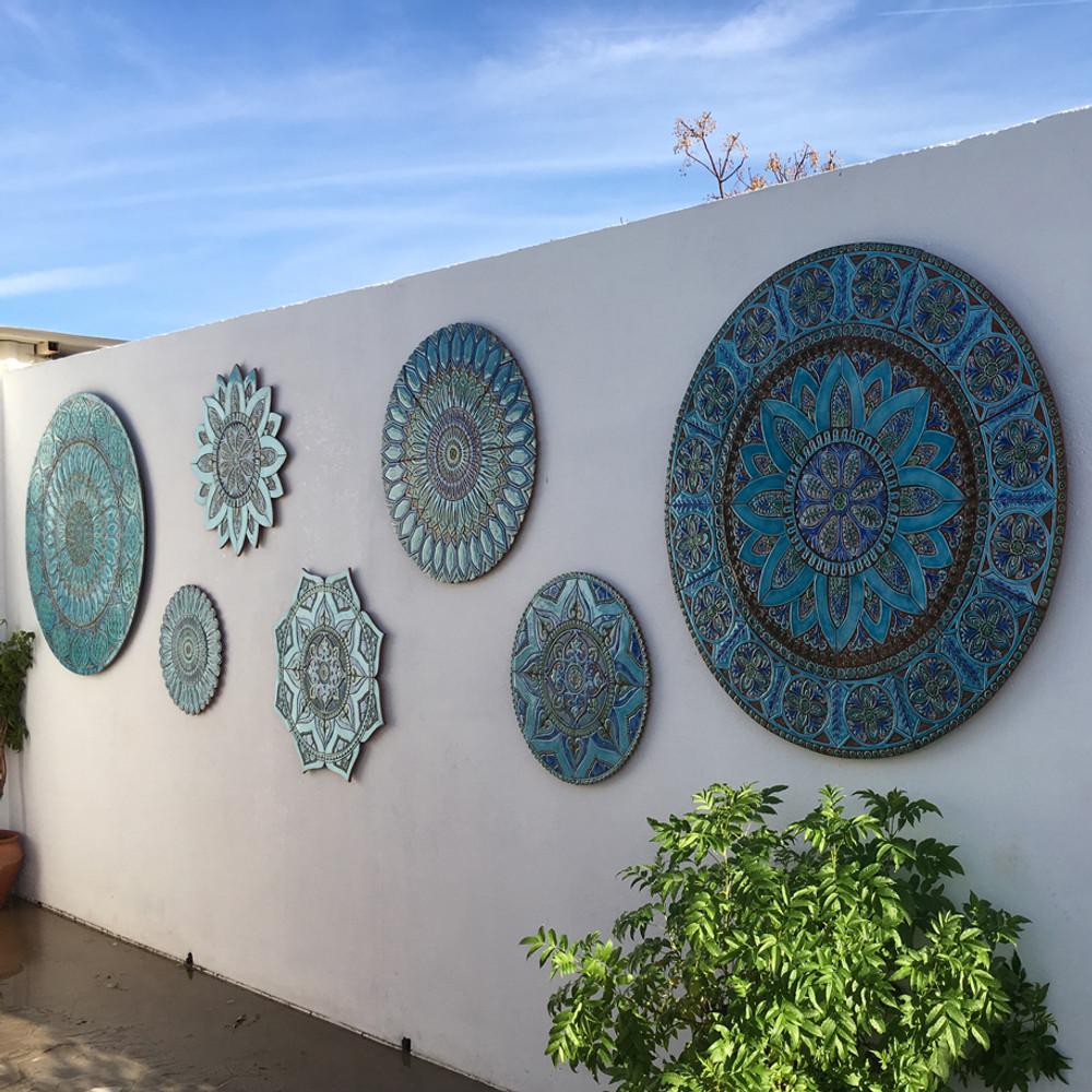 "Ceramic wall mural turquoise moroccan circle [82cm/33.2""]"