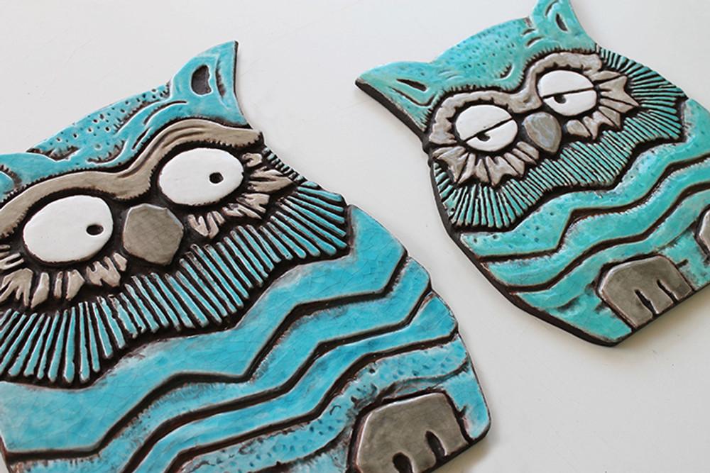 Ceramic Wall Art Turquoise Owl #1 (31.5x25cm)