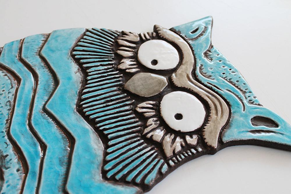 Owl Wall Art - Large - Angle - Turquoise