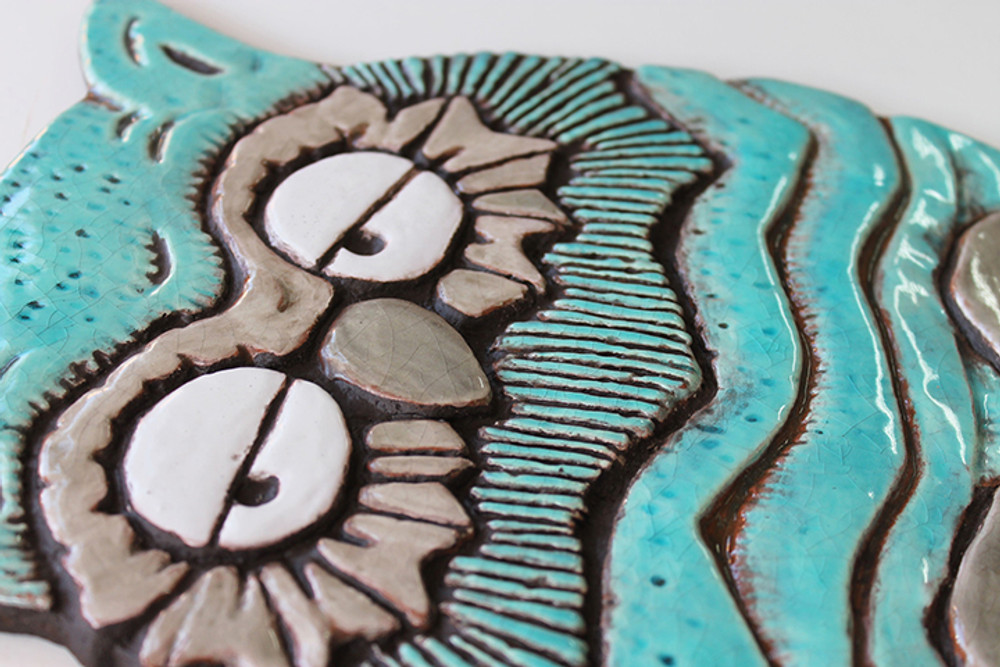 Wall Art Owl - Large - Jade - Angle