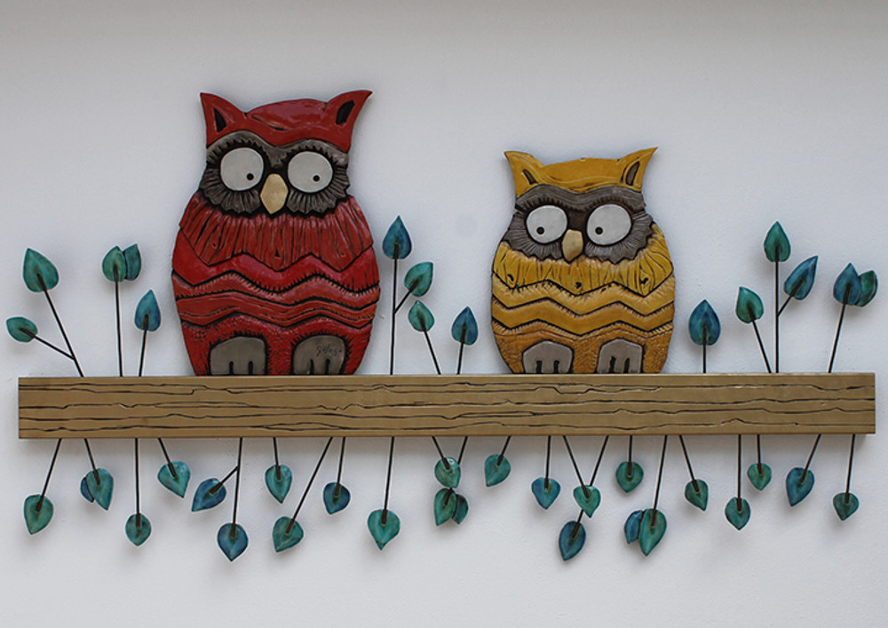 Ceramic Wall Art Owlet Abstract Turquoise SET2