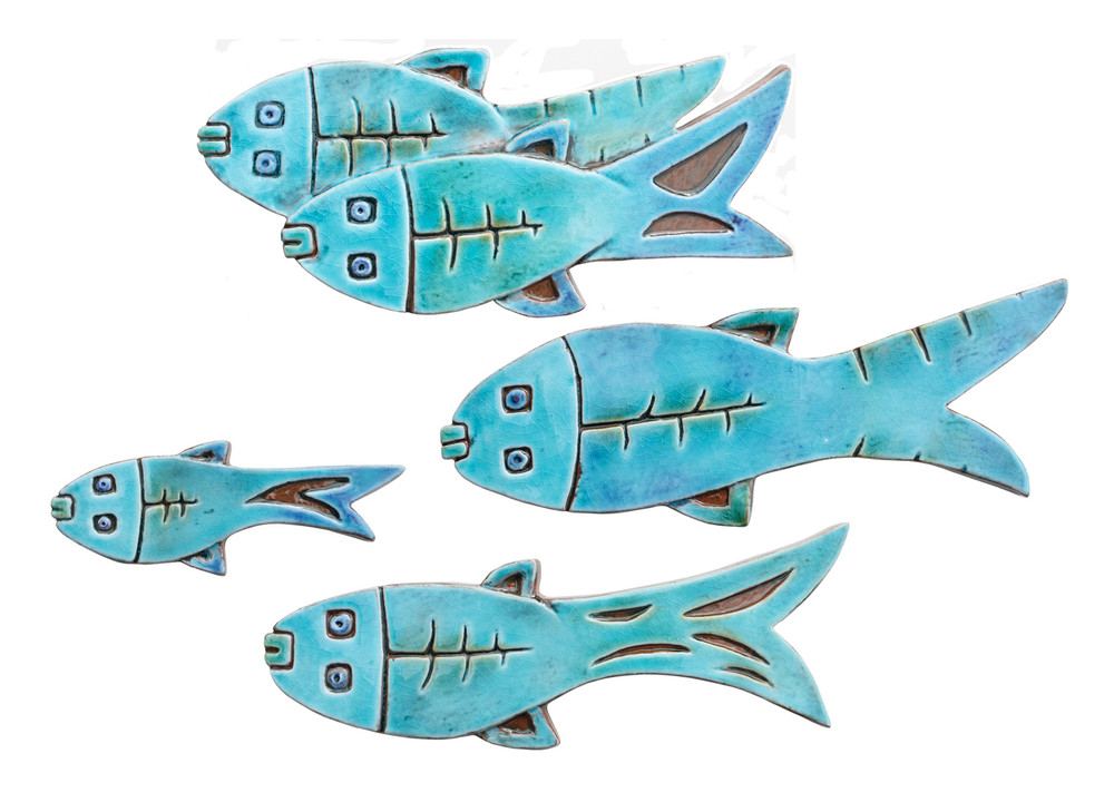 Fish ceramic wall art for kitchens, bathrooms and outdoor wall decor. Our handmade tiles make a beautiful wall art for your home or garden.