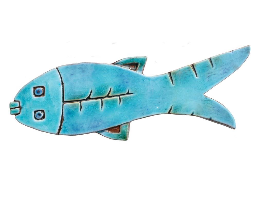 3 Turquoise Ceramic Fish Wall Art Tile Wall Art Gvega
