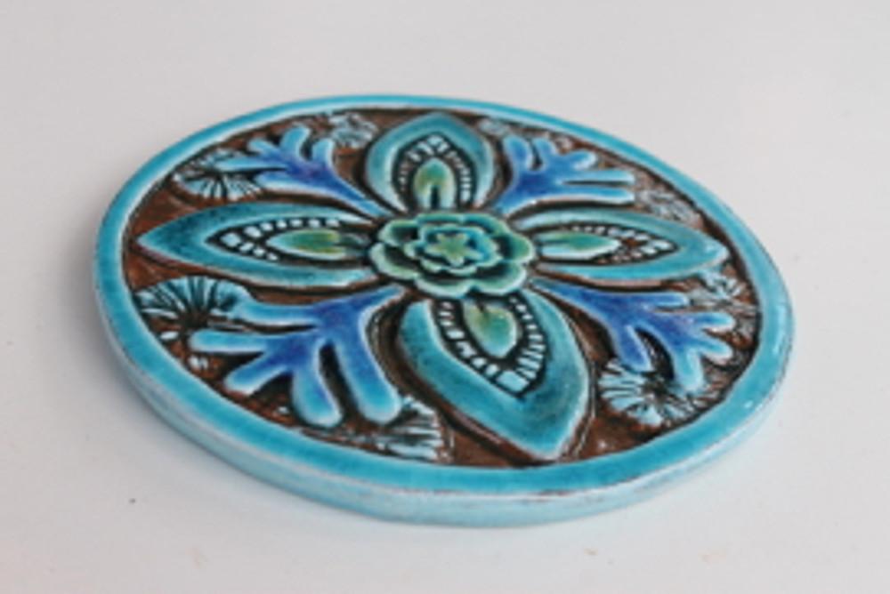 Suzani Ceramic Circles Tile 15.5cm -Turquoise-Angle
