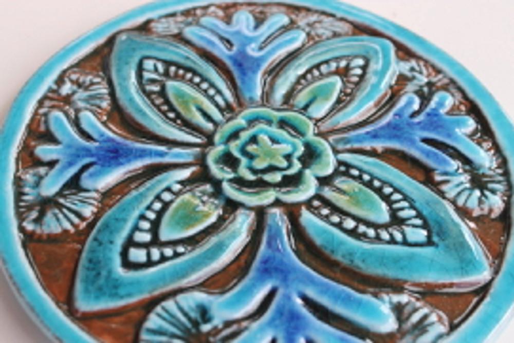 Suzani Ceramic Circles Tile 15.5cm -Turquoise-Zoom