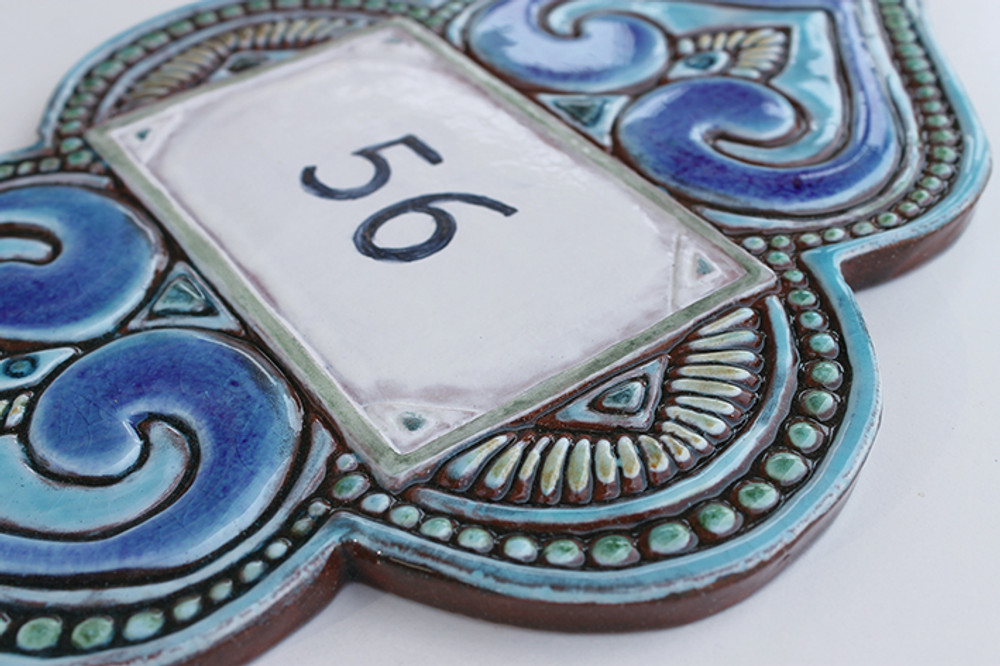 Handmade tile ceramic number plaque for house entrance.  Made in Spain.