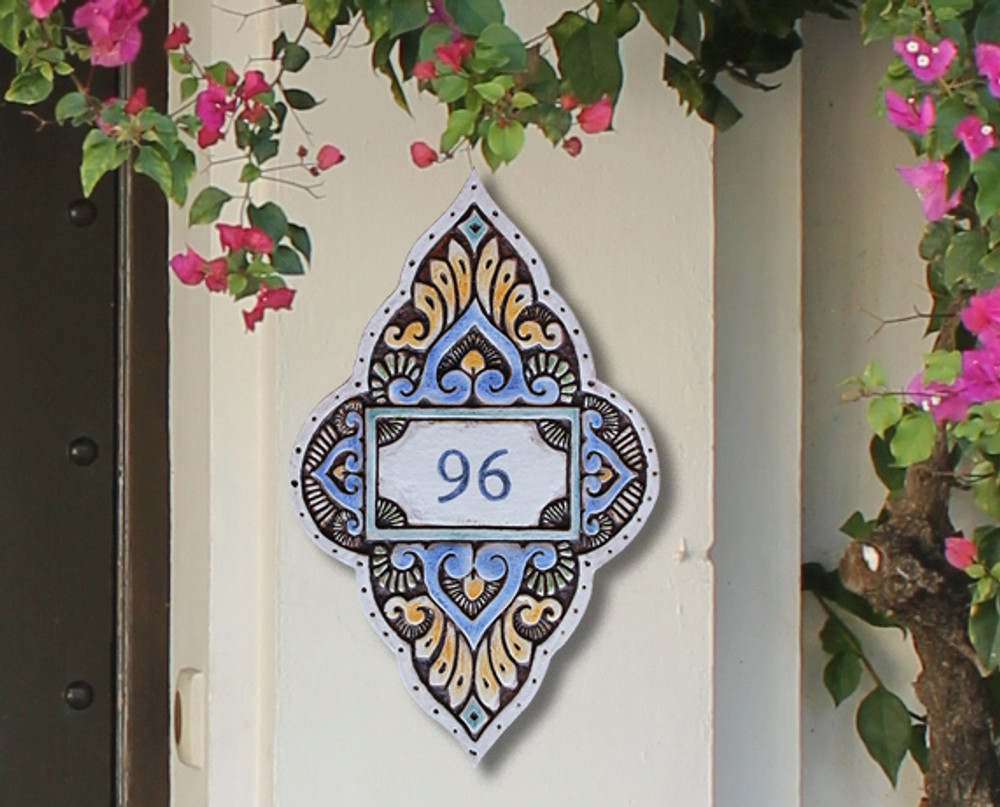 Handmade tile ceramic number plaque for house entrance.  Glazed in matt blues and greens. Made in Spain.