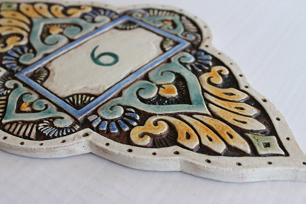 Ceramic House Number matt green Mandala #2