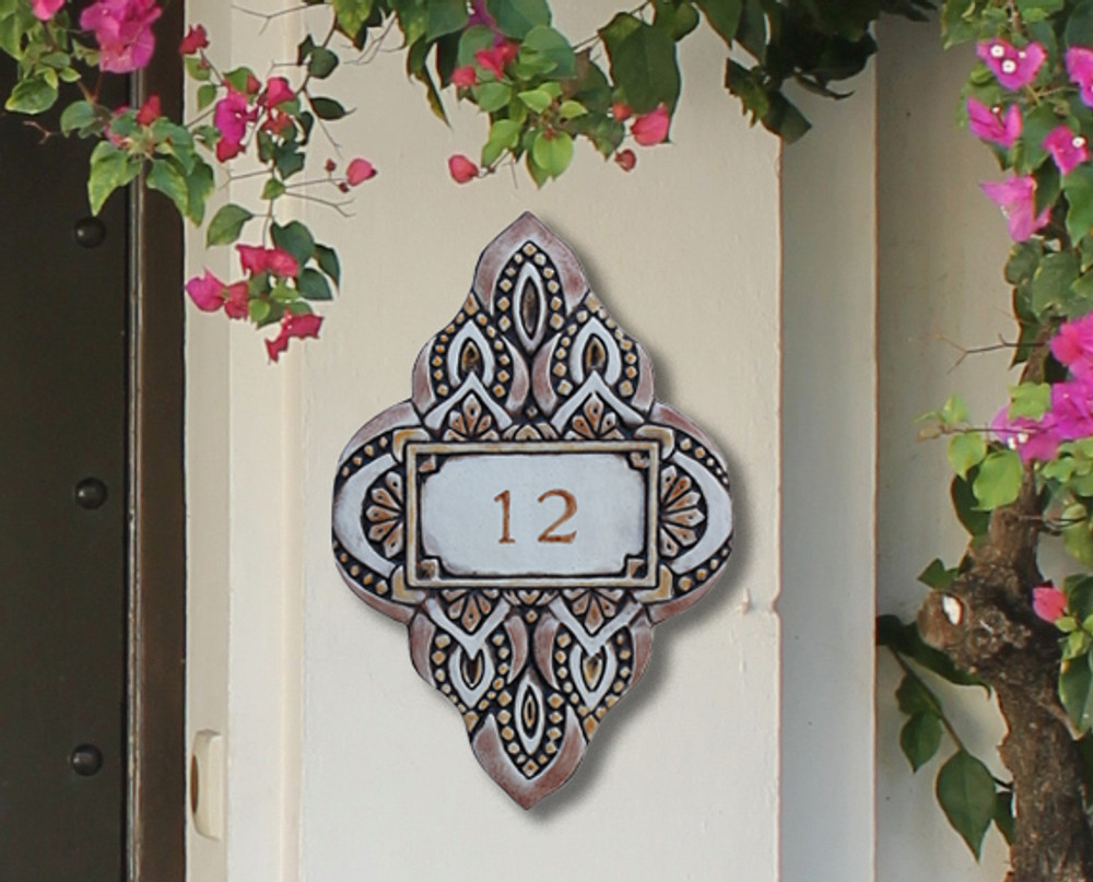 Handmade tile ceramic number plaque for house entrance.  Glazed in matt browns. Made in Spain.