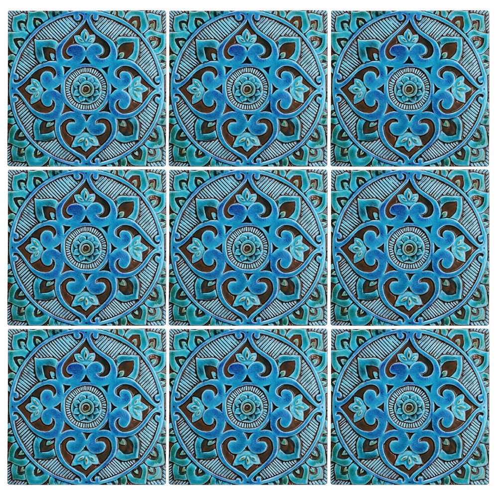 Patterns using turquoise handmade tile with decorative relief. Large decorative tile with Mandala design.