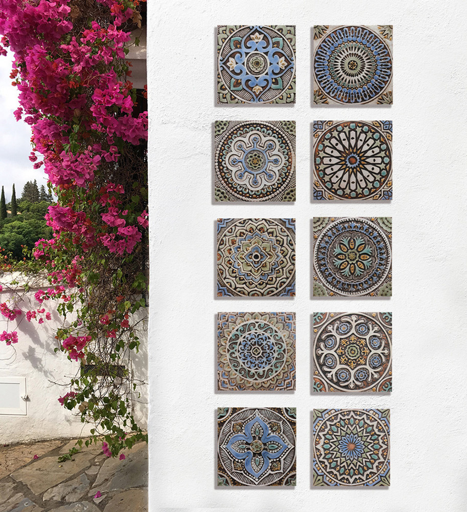 These handmade tiles make wonderful wall hangings and outdoor wall art.  These relief tiles are handmade in Spain and glazed in matt blue and finished in aged effect.