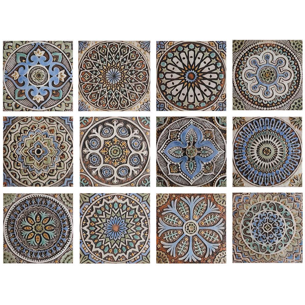"""Handmade Tiles Set4 matt blue Moroccan [30cm/11.8""""]"""