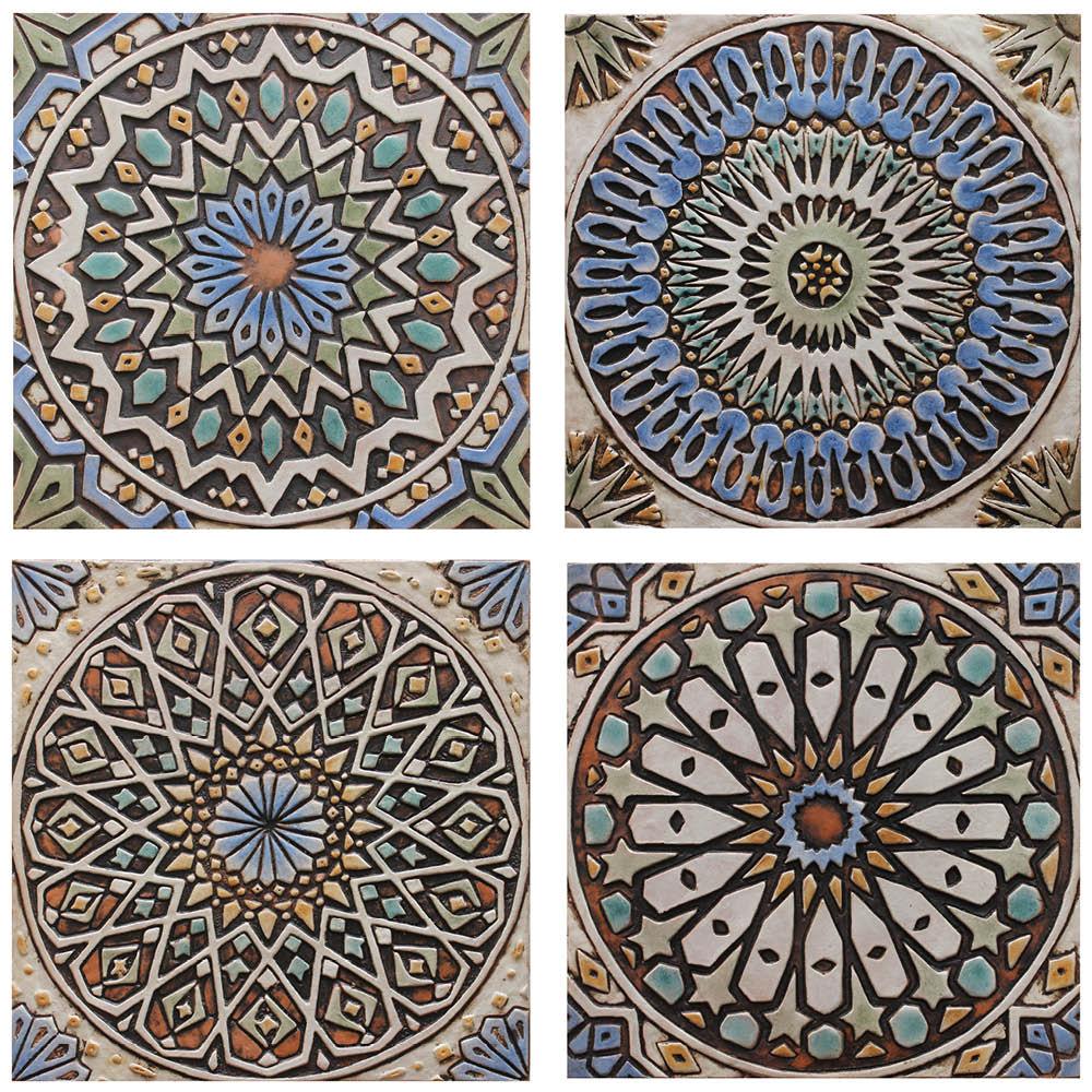 """Handmade Tiles matt blue Set3 [30cm/11.8""""]"""
