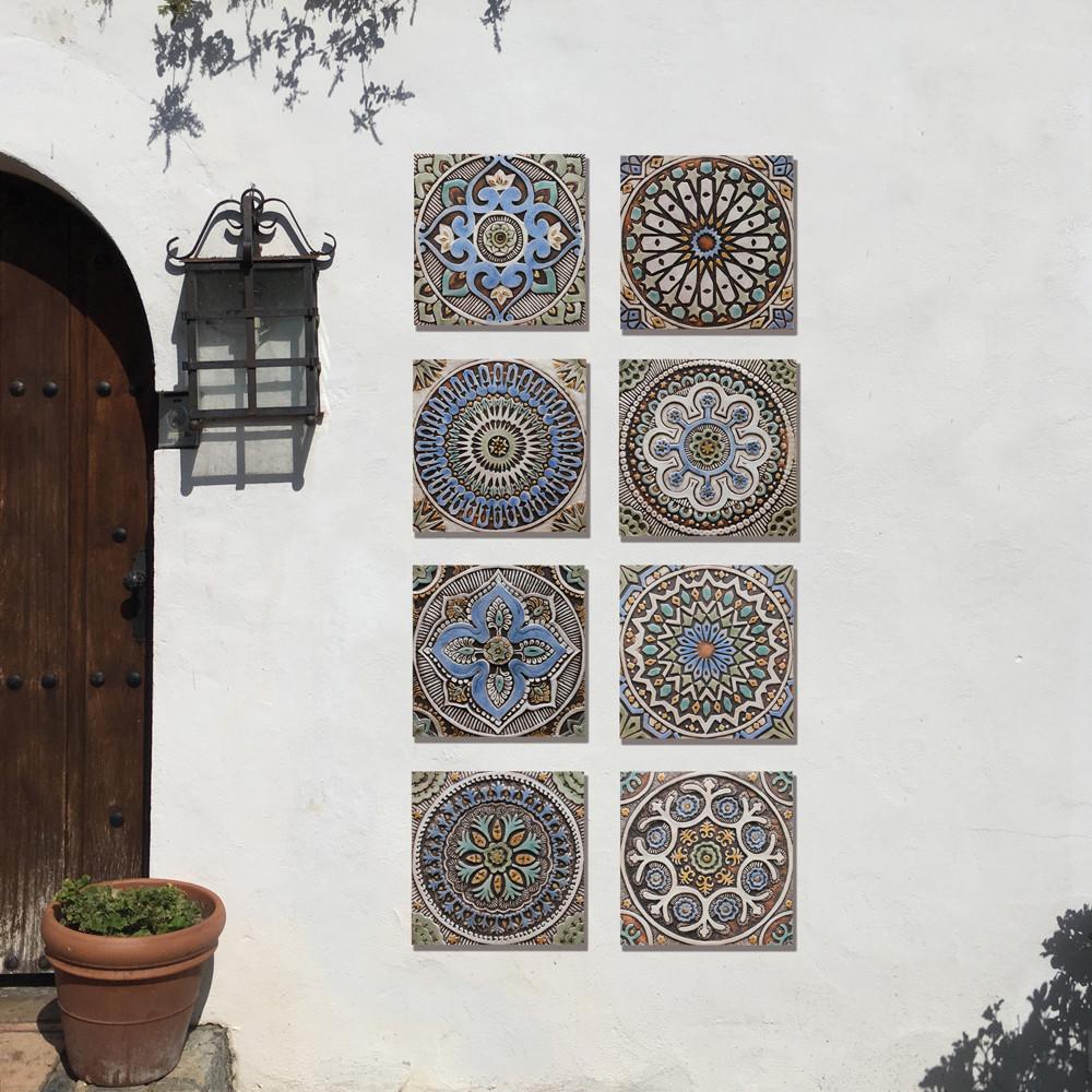 """Handmade Tiles Set8 matt blue [30cm/11.8""""]"""
