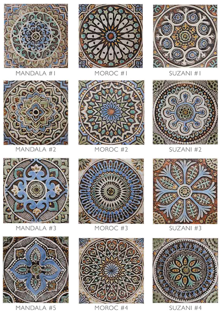 These handmade tiles make outdoor wall art.  Decorative tile handmade in Spain.