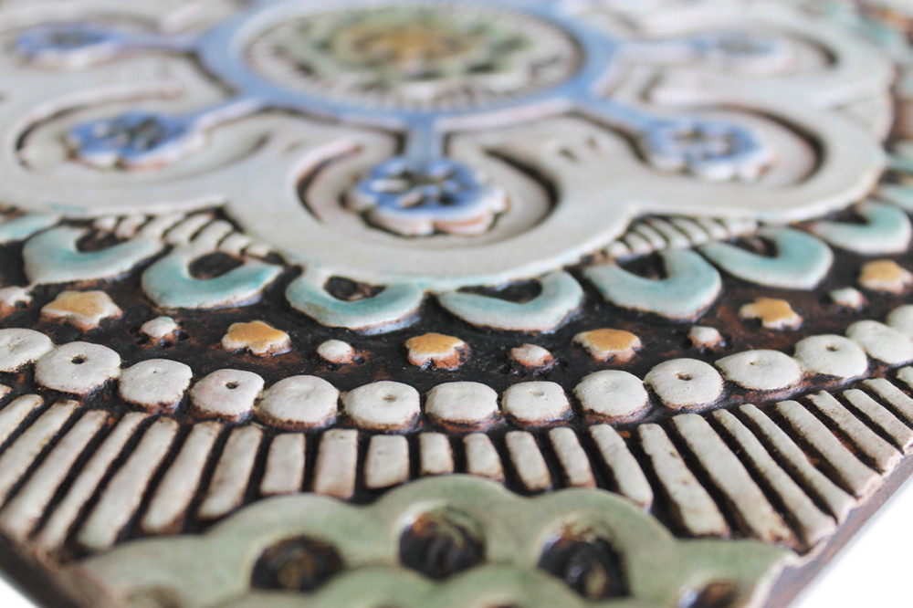 "Handmade Tile matt blue suzani #2 [30cm/11.8""]"