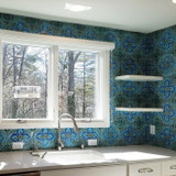 Kitchen backsplash using handmade tiles by GVega.  Handmade in Spain.