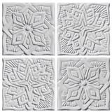 "Handmade Tiles Set4 White Relief Moroccan [15cm/5.9""]"