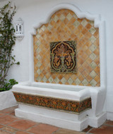 Ceramic fountain made with Handmade tiles.  Each of our ceramic fountains are made with Spanish tiles and custom designed.