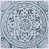 Handmade tile with carved relief for kitchens, bathrooms and outdoor wall art. Decorative tile handmade in Spain in aqua & white.