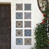 These handmade tiles make wonderful wall hangings and outdoor wall art.  These decorative tiles are handmade in Spain and glazed in matt blue and finished in aged effect.