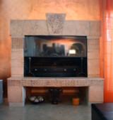 Custom chimeney made from handmade ceramic tiles.