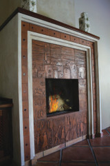 Custom chimney made from handmade ceramic tiles.