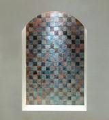 Custom handmade tiles to decorate niche.