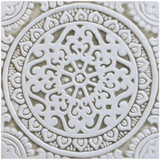 Handmade tile for kitchens, bathrooms and outdoor wall art. Decorative tile handmade in Spain glazed in beige and white.