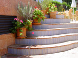 Custom handmade tiles to decorate exterior steps or risers.