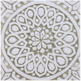 Moroccan ceramic tile #4- Beige and White [20cm] Front picture