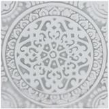 "Mandala ceramic tile #1- Grey [20cm/7.8""]"