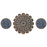 Create your unique wall art installation with these circular handmade tiles. Ceramic wall art for kitchens, bathrooms and outdoor wall decor. Our decorative tiles make a beautiful wall art installations when combined together.