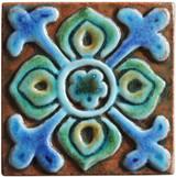 Suzani ceramic Taco Tile 8cm - Turquoise