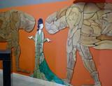 Ceramic mural made with Handmade tiles.  Custom designed ceramic wall art installation, handmade in Spain.