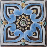 These handmade tiles make wonderful wall hangings and outdoor wall art.  Matt blue decorative tile handmade in Spain.
