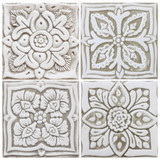These handmade tiles make wonderful kitchen tiles, bathroom tiles, wall hangings and outdoor wall art.  Beige & white relief tile handmade in Spain.