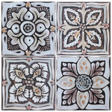 These decorative tiles make wonderful wall hangings and outdoor wall art.  These handmade Spanish tiles are carved in relief and glazed in matt brown.