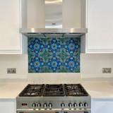 Handmade tiles with beautiful mandala design used as kitchen backsplash