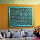 Ceramic mural made with Handmade tiles.  Custom designed ceramic wall art installation, handmade in Spain.