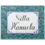 House sign made from ceramic (turquoise with green pigmented border) 1