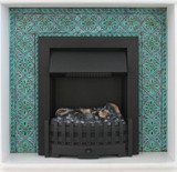 Chimney decorated with handmade turquoise tiles.