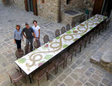 Mosaic table made from Handmade tiles.  Custom designed ceramic table, handmade in Spain.