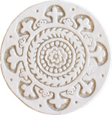 Wall decoration Suzani#1 Circular 15cm -White&Beige